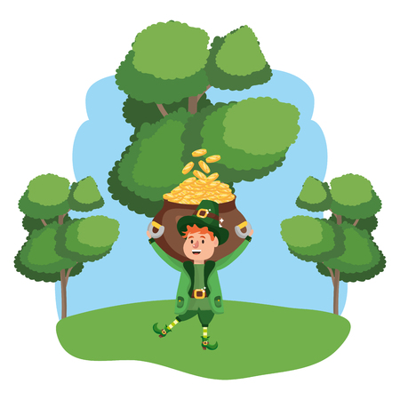 leprechaun with pot of gold young wooded landscape vector illustration graphic design