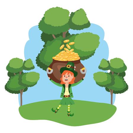 leprechaun with pot of gold wooded landscape vector illustration graphic design Ilustração