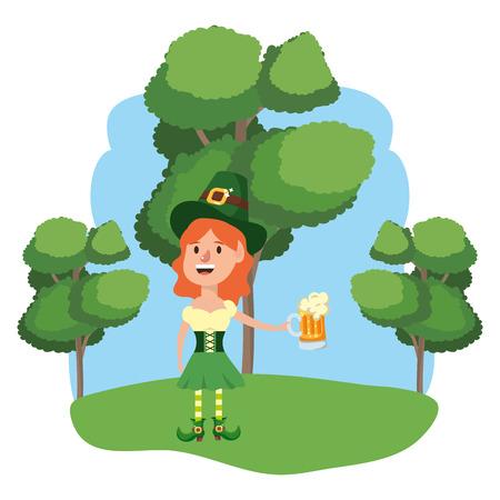 leprechaun with beer female wooded landscape vector illustration graphic design Ilustração