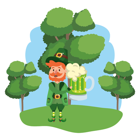 leprechaun with beer beard wooded landscape vector illustration graphic design