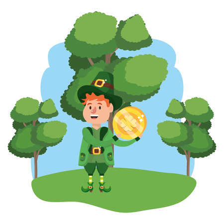 leprechaun with golden coin young wooded landscape vector illustration graphic design