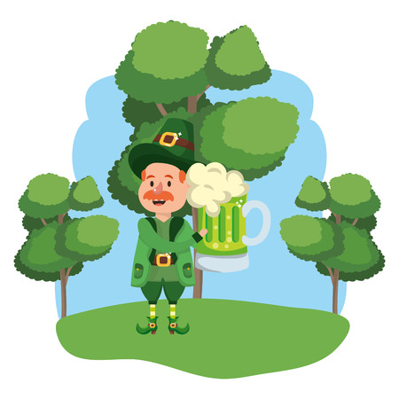 leprechaun with beer moustache wooded landscape vector illustration graphic design