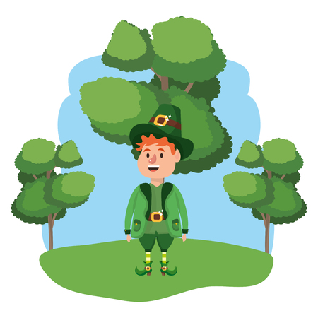 leprechaun male avatar young wooded landscape vector illustration graphic design