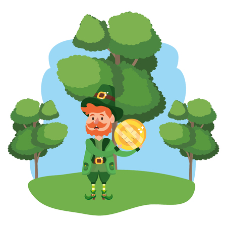 leprechaun with golden coin beard wooded landscape vector illustration graphic design