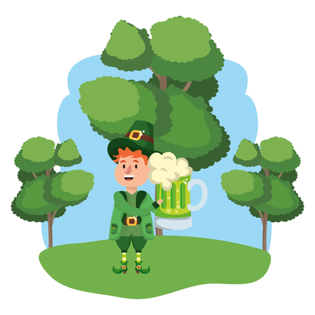 leprechaun with beer young wooded landscape vector illustration graphic design