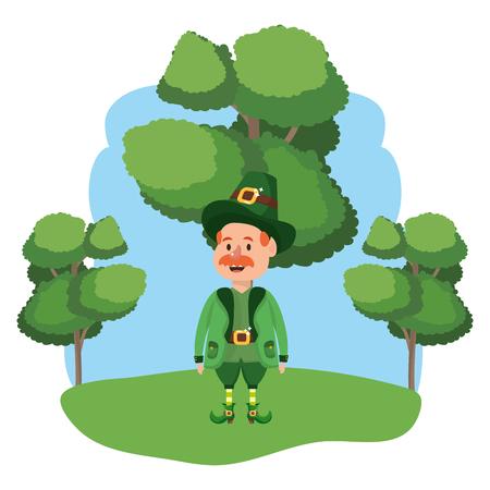 leprechaun male avatar moustache wooded landscape vector illustration graphic design