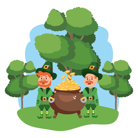 leprechauns with pot of gold wooded landscape vector illustration graphic design