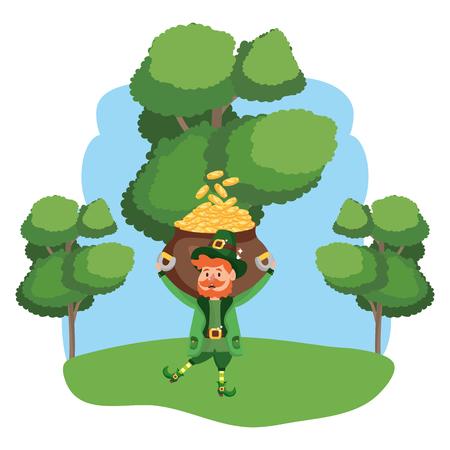 leprechaun with pot of gold beard wooded landscape vector illustration graphic design Ilustração