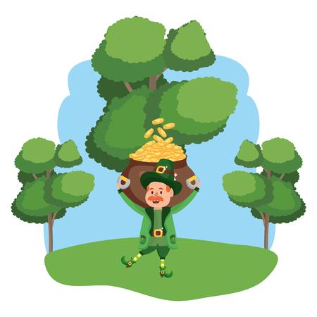 leprechaun with pot of gold moustache wooded landscape vector illustration graphic design Ilustração