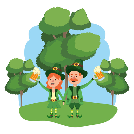 leprechaun with beer couple wooded landscape vector illustration graphic design