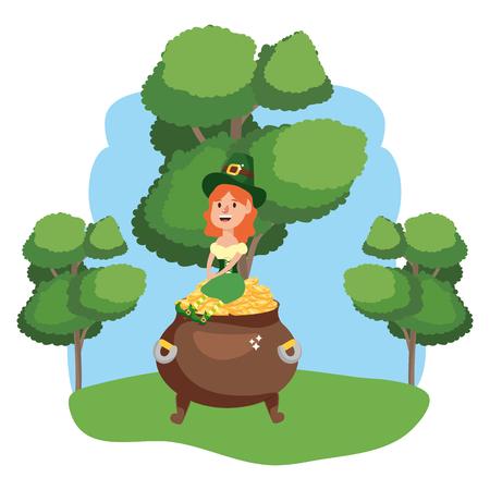 leprechaun with pot of gold female wooded landscape vector illustration graphic design Ilustração