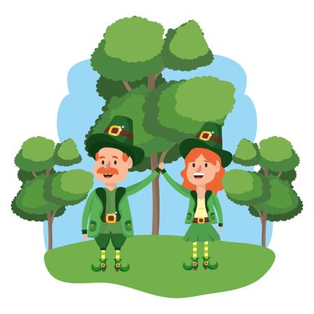 leprechaun couple with trees wooded landscape vector illustration graphic design Ilustração