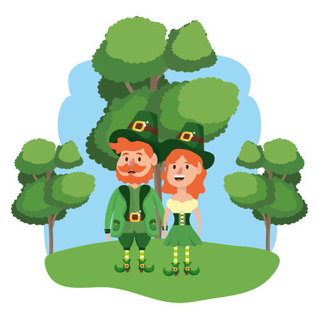 leprechaun couple with trees wooded landscape vector illustration graphic design Illustration