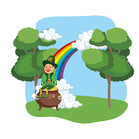leprechaun with pot of gold moustache rainbow ruralscape vector illustration graphic design Vectores