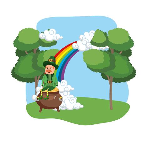 leprechaun with pot of gold moustache rainbow ruralscape vector illustration graphic design Illustration