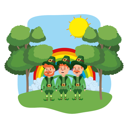 leprechaun male group rainbow wooded landscape vector illustration graphic design