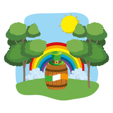 barrel with irish flag and hat rainbow wooded landscape vector illustration graphic design