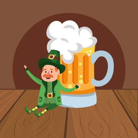 leprechaun with beer moustache wooded background vector illustration graphic design