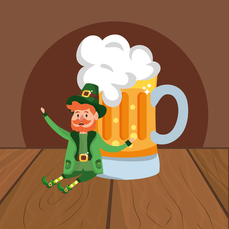 leprechaun with beer beard wooded background vector illustration graphic design Ilustração