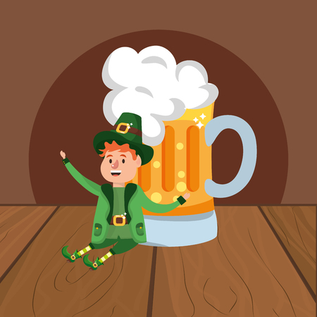 leprechaun with beer young wooded background vector illustration graphic design