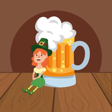 leprechaun with beer female wooded background vector illustration graphic design Ilustração