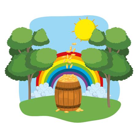 barrel full of golden coins rainbow wooded landscape vector illustration graphic design
