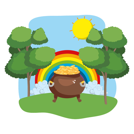 pot full of golden coins rainbow wooded landscape vector illustration graphic design