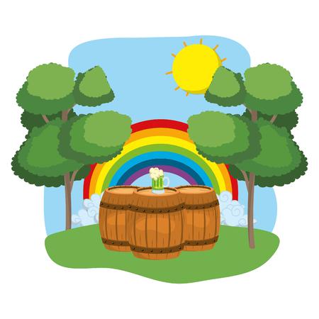 barrels with beer rainbow wooded landscape vector illustration graphic design Ilustração