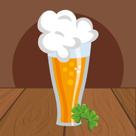 beer with clover wooded background vector illustration graphic design