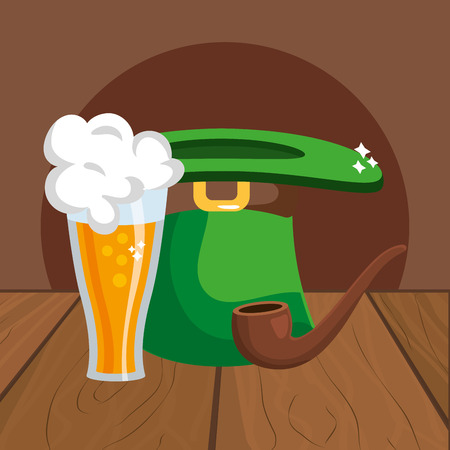 beer with hat pipe wooded background vector illustration graphic design