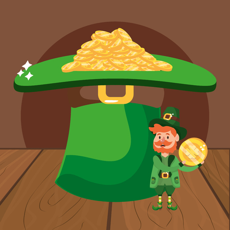 leprechaun with hat and golden coins beard wooded background vector illustration graphic design