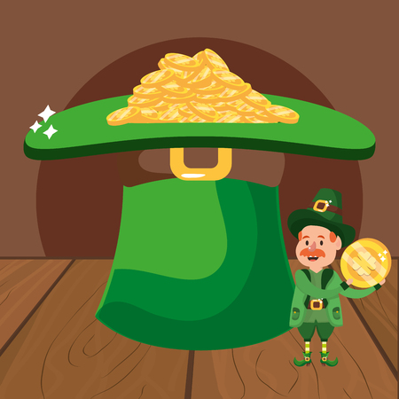 leprechaun with hat and golden coins moustache wooded background vector illustration graphic design Ilustração