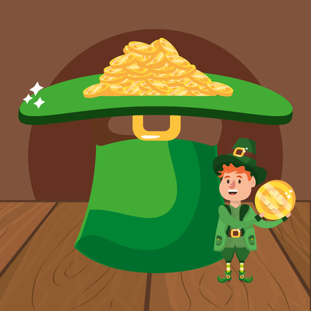 leprechaun with hat and golden coins young wooded background vector illustration graphic design