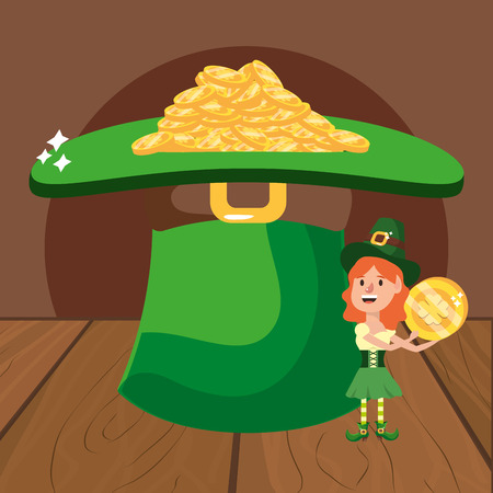 leprechaun with hat and golden coins female wooded background vector illustration graphic design Ilustração