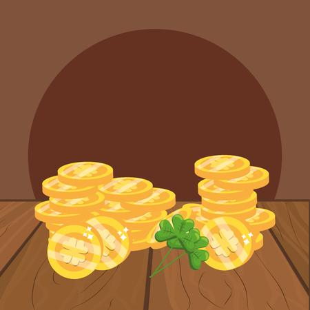 golden coins and clover wooded background vector illustration graphic design Ilustração