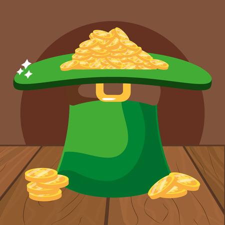 leprechaun hat with coins wooded background vector illustration graphic design Ilustração