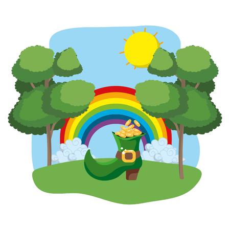 boot with golden coins rainbow wooded landscape vector illustration graphic design Ilustração