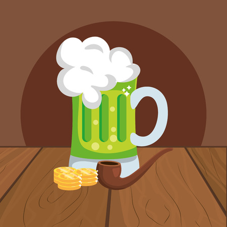 beer with golden coin pipe wooded background vector illustration graphic design