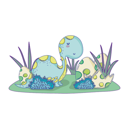 cute apatosaurus with eggs vector illustration design Illustration