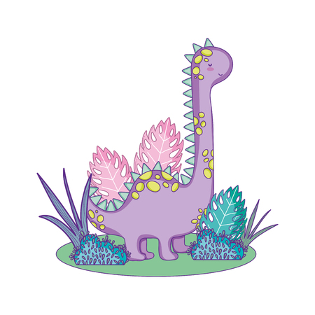 cute apatosaurus in the landscape vector illustration design