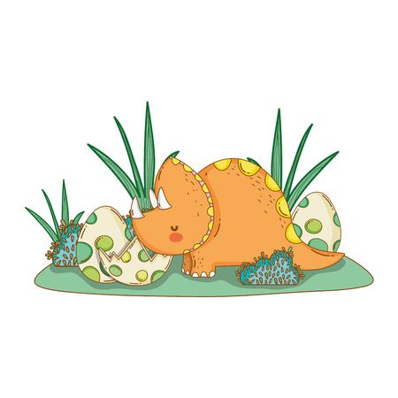 cute triceratops with eggs scene vector illustration design