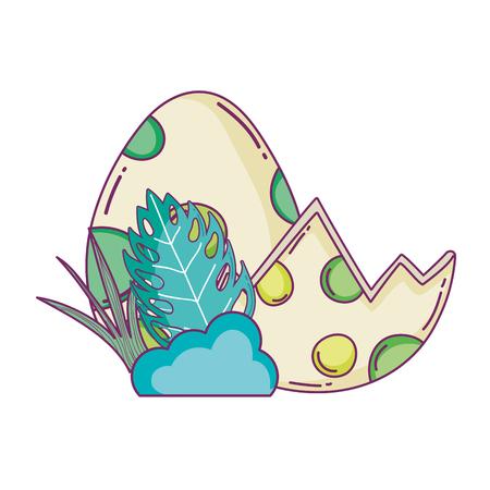 dinosaur eggs with bush scene vector illustration design