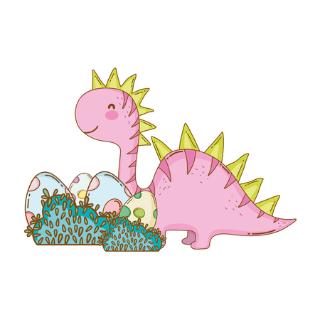 cute apatosaurus with eggs vector illustration design 向量圖像