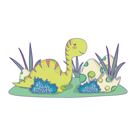 cute apatosaurus with eggs vector illustration design