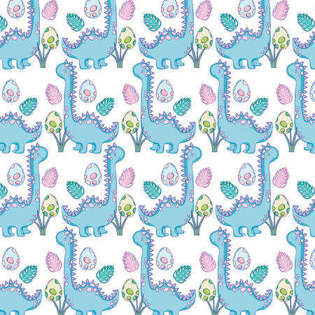 cute apatosaurus pattern background vector illustration design