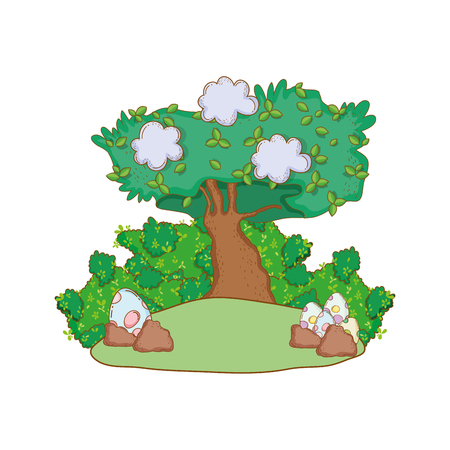 dinosaur eggs with tree landscape vector illustration design