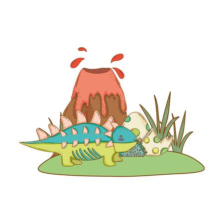 cute dinosaur with volcano landscape vector illustration design Ilustração