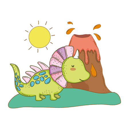 cute dinosaur with volcano landscape vector illustration design Ilustração