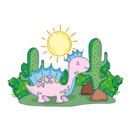 cute apatosaurus in the landscape vector illustration design