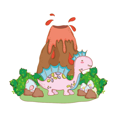 cute apatosaurus with volcano scene vector illustration design